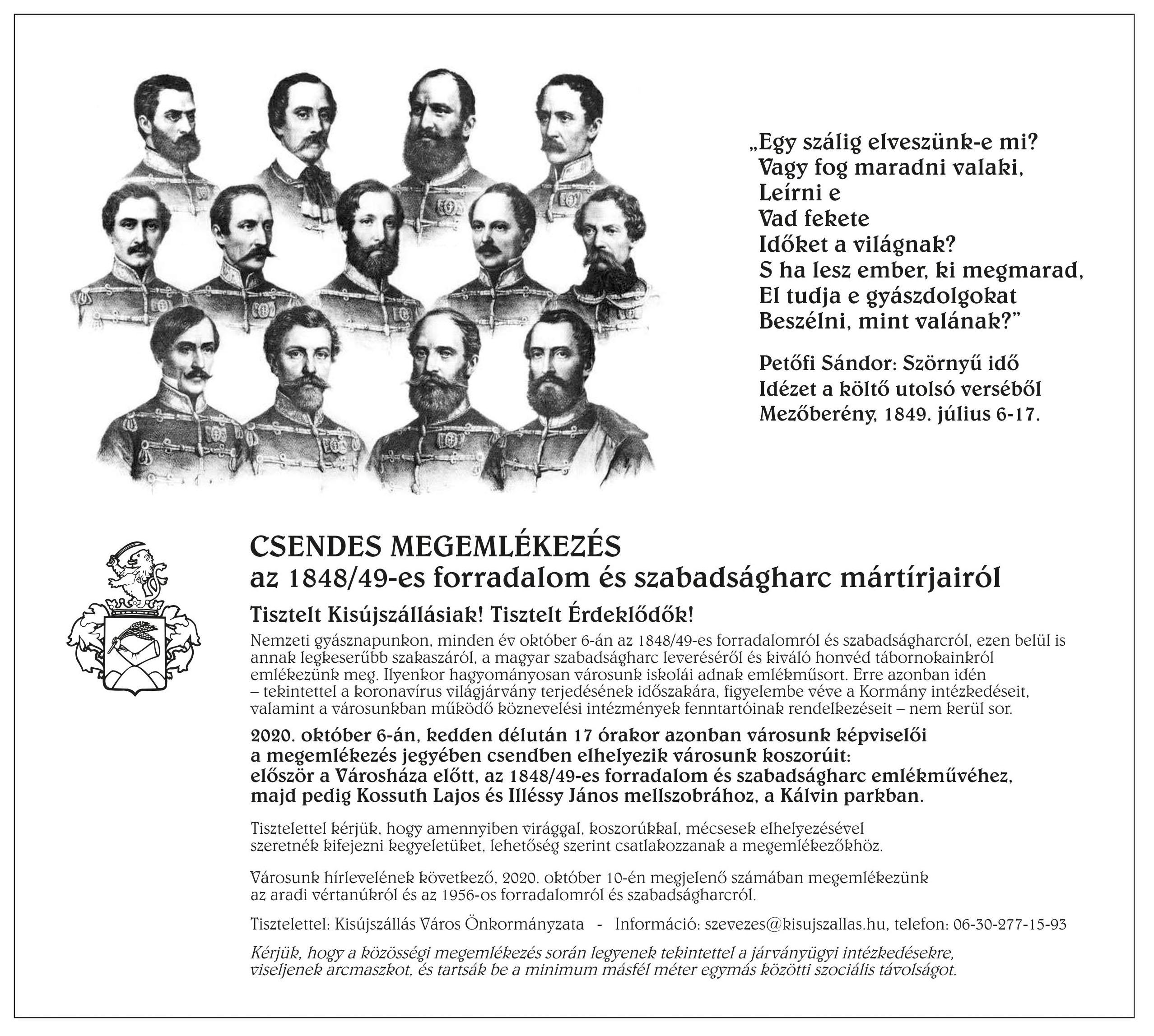 Megemlékezés az 1848/49-es forradalom és szabadságharc mártírjairól