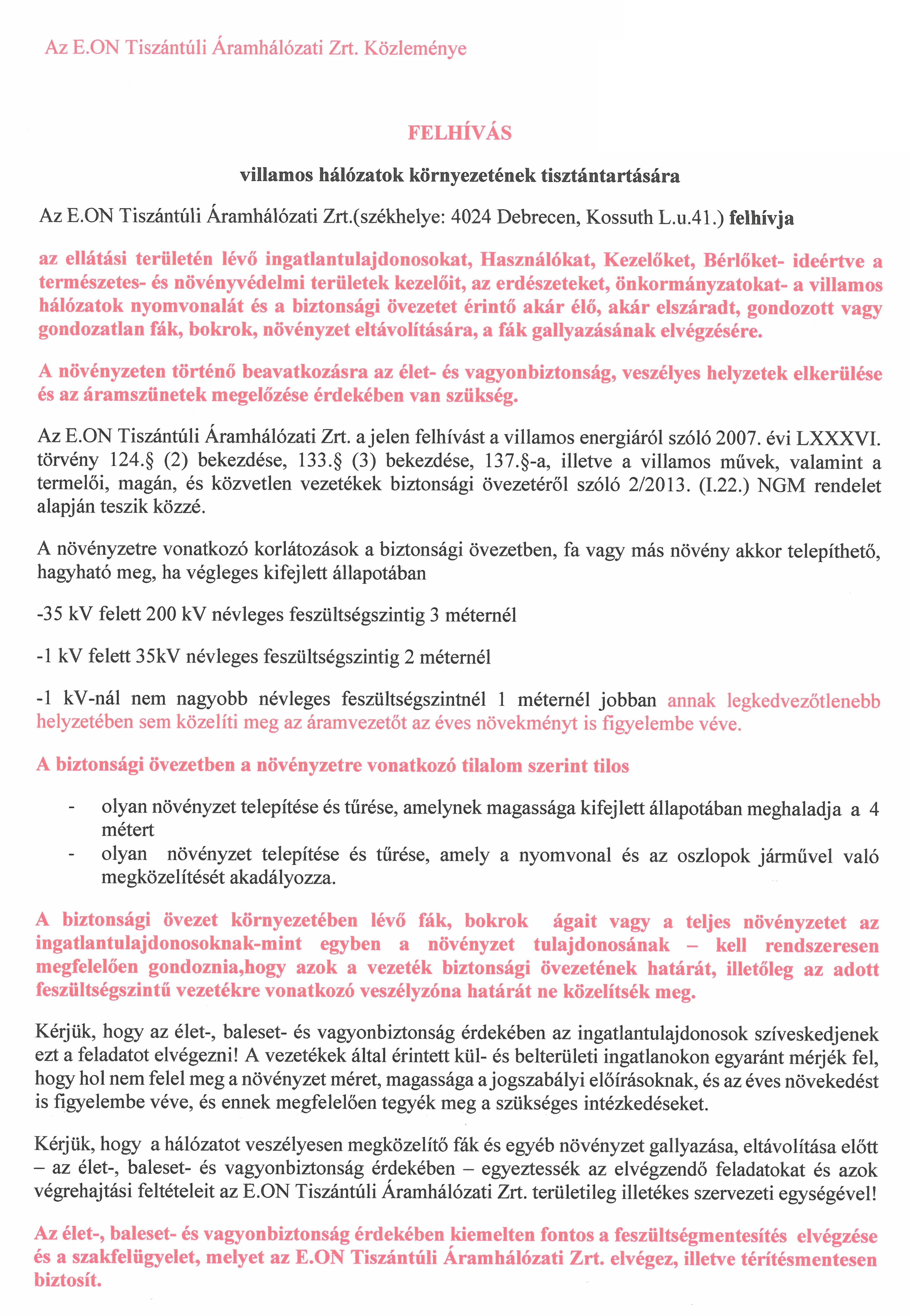 Az E.ON Tiszántúli Áramhálózati Zrt. közleménye