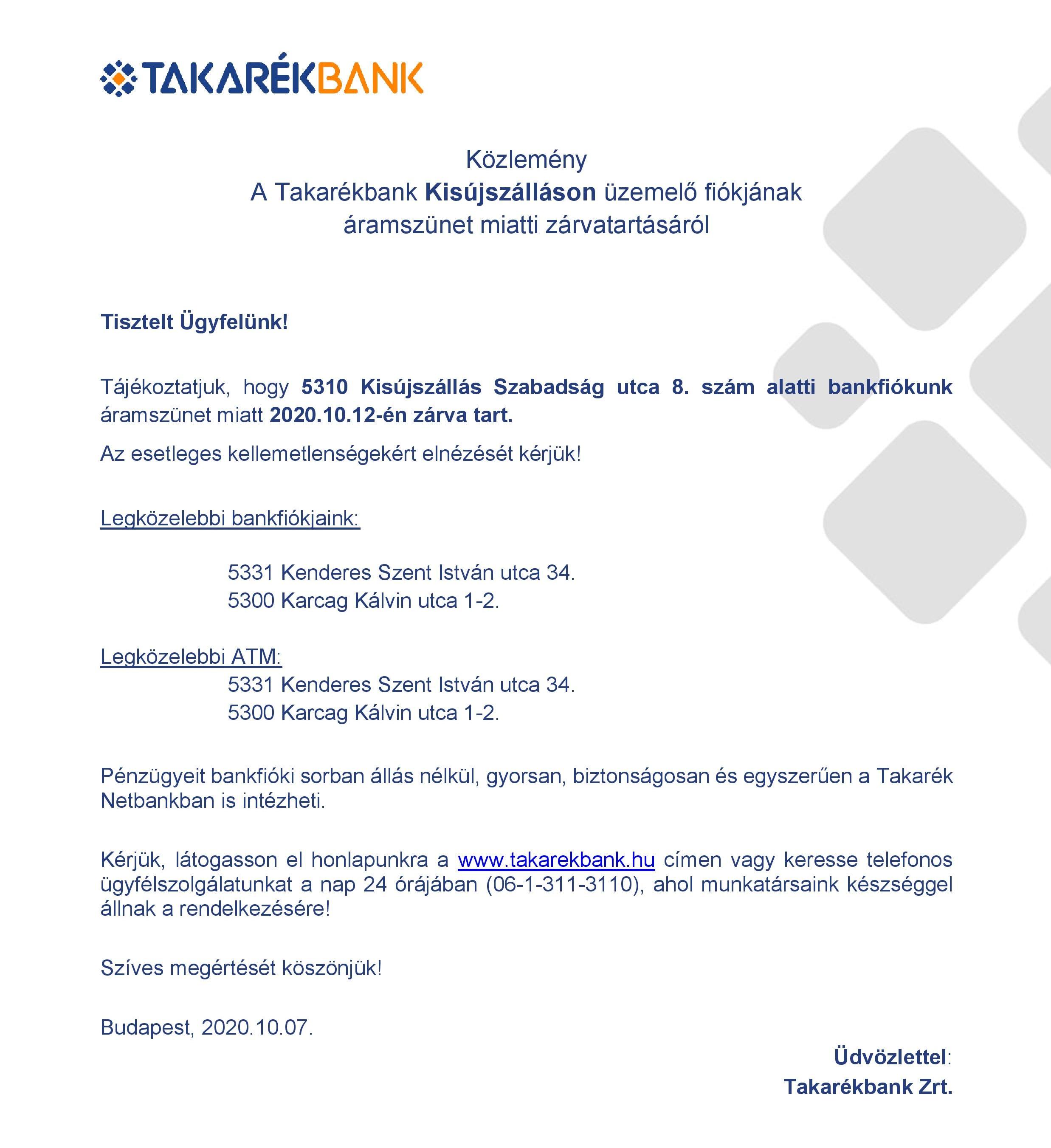 A Takarékbank közleménye
