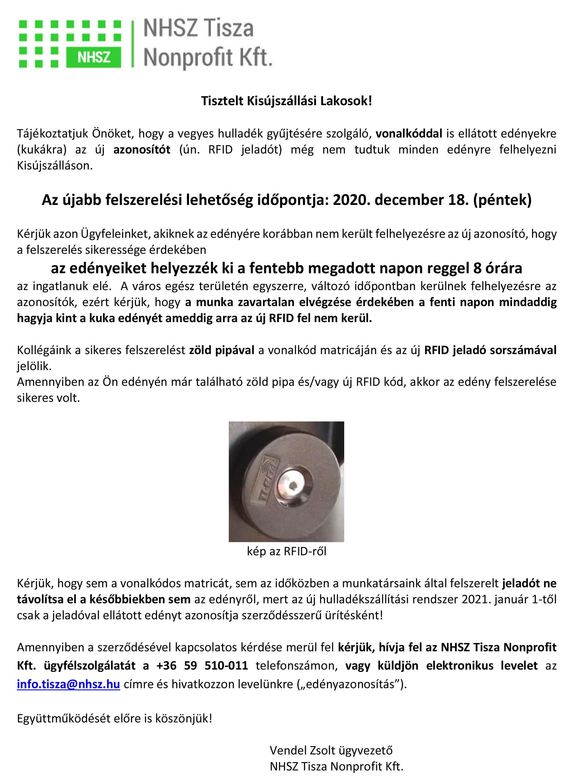 Az NHSZ Tisza Nonprofit Kft. tájékoztatása